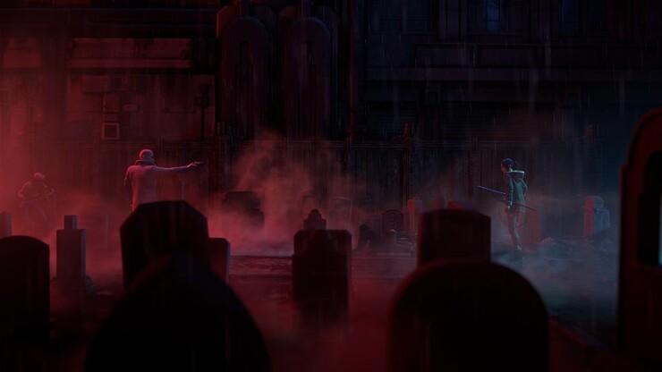 Кадры из аниме «Бегущий по лезвию: Чёрный лотос»
