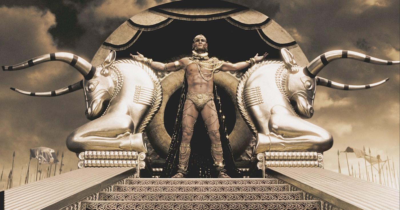 Интересно, что для создания эффекта трёхметрового ксеркса актёр родриго санторо практически всё время снимался на