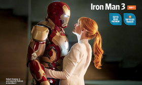 «Железный человек - 3» (Iron Man 3)  Режиссер: Шейн Блэк В ролях: Роберт Дауни-младший, Гвинет Пэлтроу, Дон Чидл, Джон Фавро, Бен Кингсли, Гай Пирс, Джеймс Бадж Дэйл, Эшли Хамильтон.