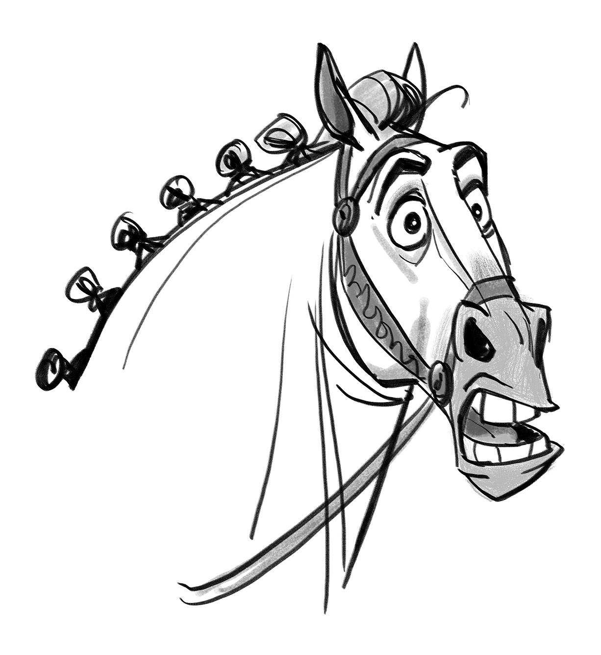 Смешной рисунок головы лошади